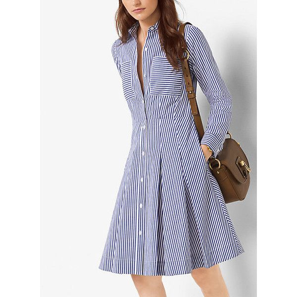 Michael Kors Striped Cotton-Poplin Shirtdress (512.540 COP) ❤ liked on Polyvore featuring dresses, tide blue, michael kors dresses, blue stripe dress, striped shirt dress, long white shirt dress and shirt dresses