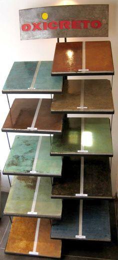 Concreto Oxidado, Oxicreto®  muestra de colores con y sin sellador