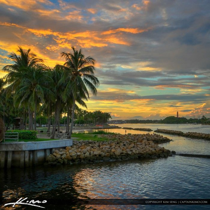 Amazing clouds setting over Dubois Park in Jupiter Florida along the waterway at the inlet with the Lighthouse in the background. HDR image created in Photomatix Pro and Topaz software.