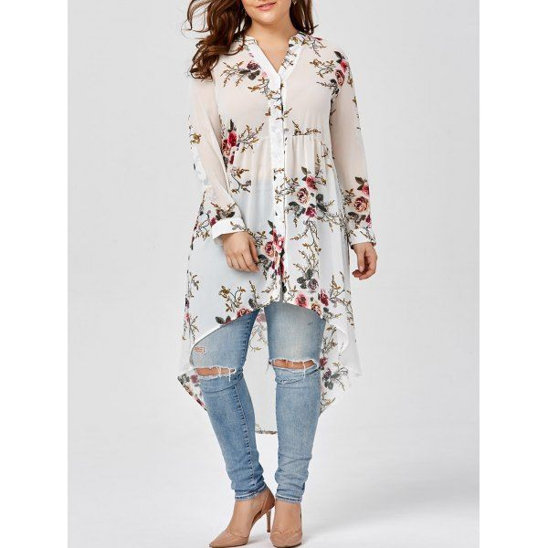 Chiffon Floral Plus Size Top In White | Twinkledeals.com