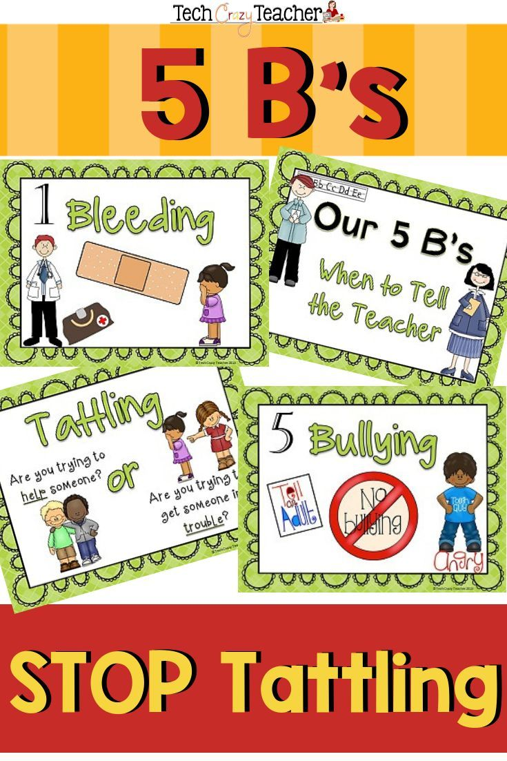 Reduce And Stop Tattling Resource 5 B S Green Teaching