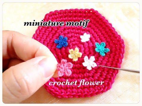 毛糸で遊ぶ☆超ミニミニの手作り花モチーフ♪crochet flower motif (miniature) - YouTube