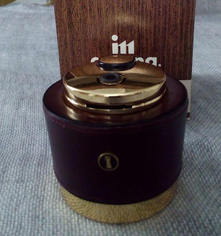 Tischfeuerzeug itt Corona mit Leder und Messing, vergoldet? Mit OVP funktioniert