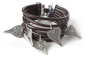 Hjerter Multi Leather & Heart Bracelet   www.karmeleons.com.au