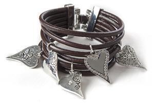 Hjerter Multi Leather & Heart Bracelet   www.karmeleons.com.au