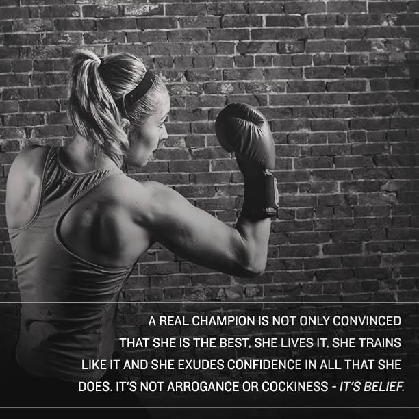 """A real champion is not only convinced that she is the best. She lives it, she trains like it and she exudes confidence in all that she does. It's not arrogance or cockiness- It's belief."" #TITLEtip #fightlikeagirl #boxing #inspiration"