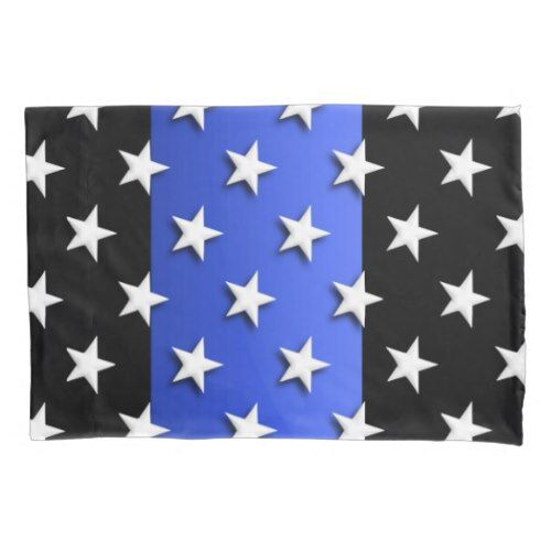 Thin Blue Line Police Stars and Stripes Pillowcase