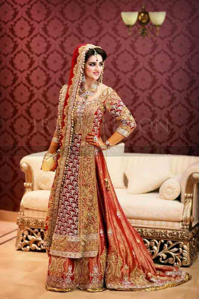 3be6042b35 Golden and red Pakistani bridal long tail maxi gown dress designs 2017