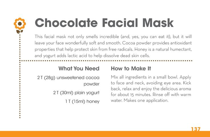 homemade chocolate facial mask - Slumber Party ideas