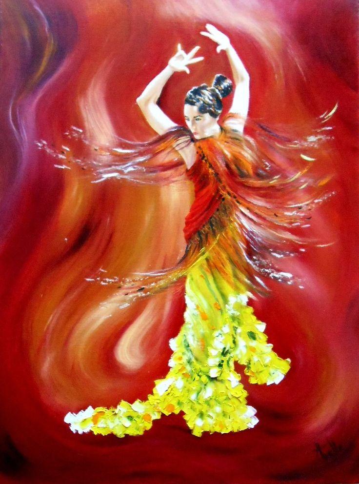 tableau d 39 une danseuse andalouse dansant le flamenco peintures axelle bosler flamenco and dancing. Black Bedroom Furniture Sets. Home Design Ideas
