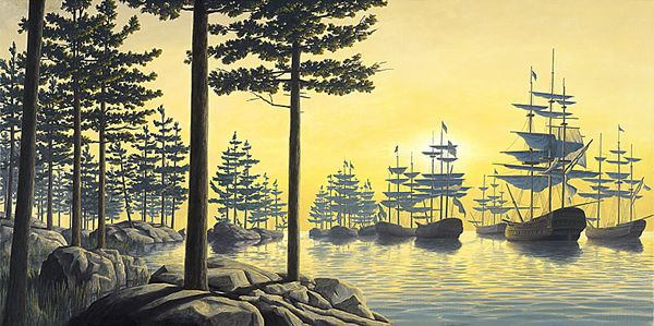 Sailing Islands by Rob Gonsalves. For more information or to order, call us at 301.881.5977. Email us at info@huckleberryfineart.com or visit our website at www.huckleberryfineart.com