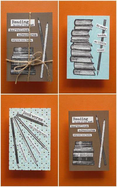 Cards by Emilia using Darkroom Door Bookworm Rubber Stamp Set and Pencils Eclectic Stamp