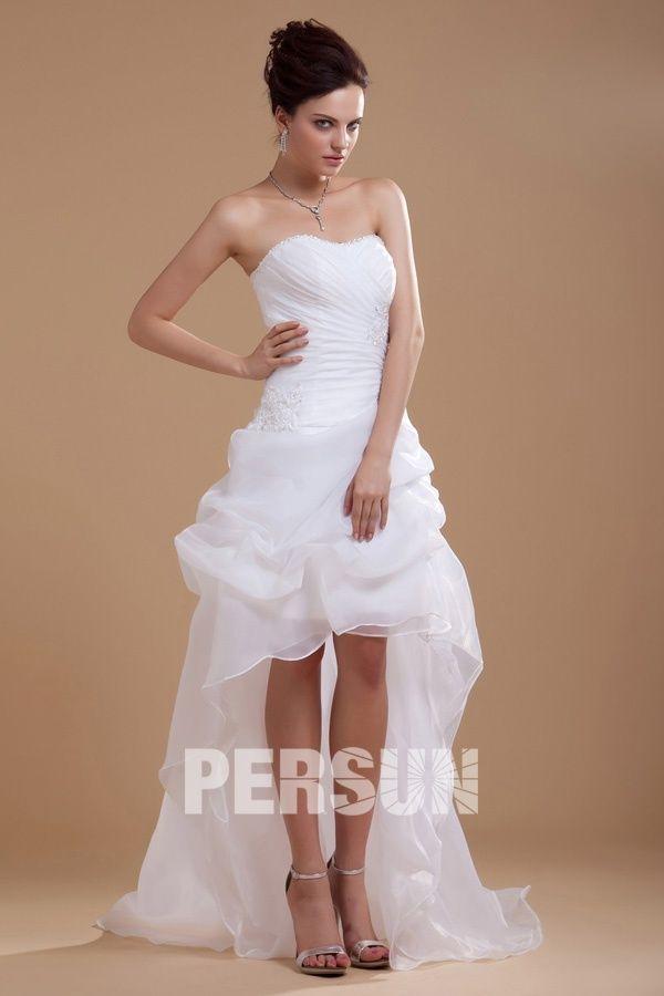 Robe de mariée bustier coeur courte devant longue derrière ...