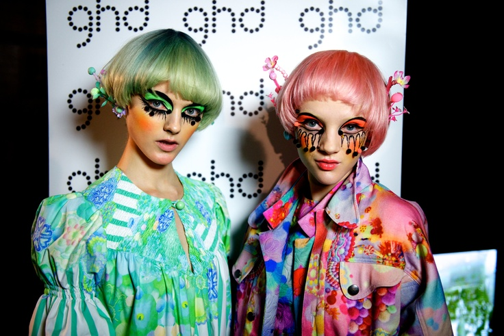 While it's certainly not a look for anywhere but the runway, we loved the crazy creativity of Val Galand for M.A.C and and Alan White for ghd at Romance Was Born.