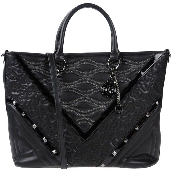 Versace Jeans Handbag ($270) ❤ liked on Polyvore featuring bags, handbags, shoulder bags, black, studded shoulder bag, purse shoulder bag, handbags shoulder bags, handbag purse and shopping bag