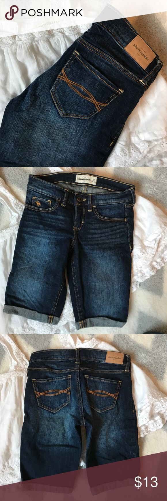 Abercrombie and Fitch shorts Abercrombie and Fitch dark wash denim Bermuda style shorts. Excellent condition no rips or stains. I have lots of children's clothing check out my closet! Abercrombie & Fitch Bottoms