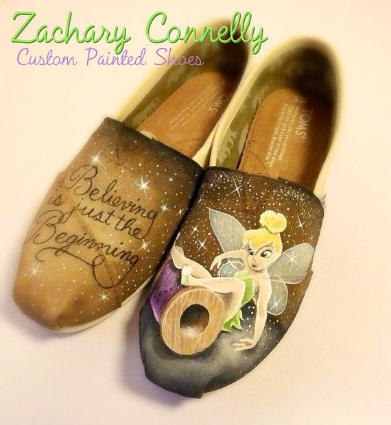 Disney's Tinkerbell Toms Shoes by ZacharyConnellyArt on Etsy, $150.00