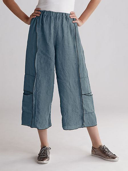 Double Stitched Cropped Linen Pant Linen Pant created by Cynthia Ashby on Artful Home