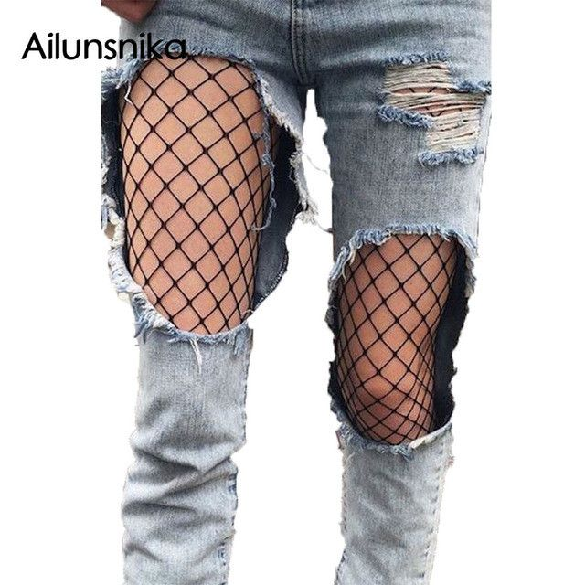 Ailunsnika 2017 Women Summer Fishnet Tights Black Sexy Seamless Pantyhose High Waist Collant Femme Big Mesh Stockings DL79924
