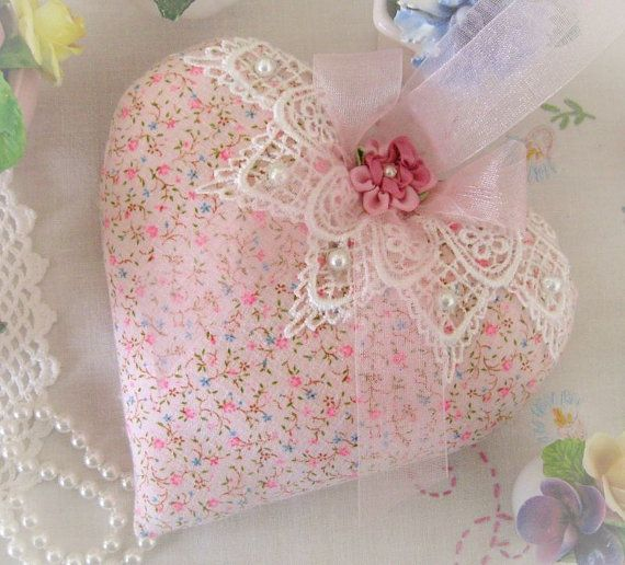 Heart Door Hanger Pillow 6 inches Pink Print by CharlotteStyle, $23.00