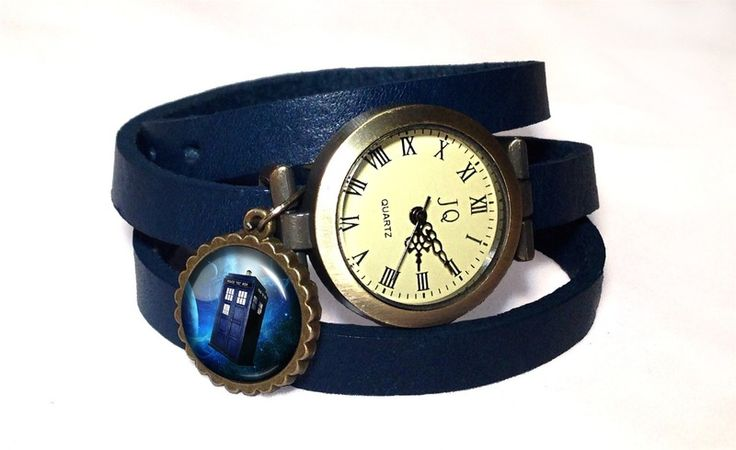 Leather watch bracelet -Tardis Doctor Who, 0338WNV from EgginEgg by DaWanda.com