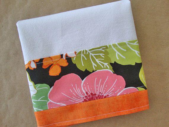 Flour Sack Towel - Kitchen Towel - Lint Free Tea Towels - Fabric Trimmed Towel - Decorative Embellished Towel - Dish Towel - Floral Towel