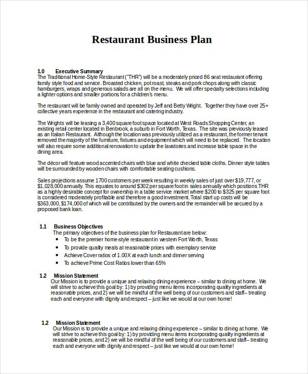 13 Business Plans Free Sle Exle Format Free Restaurant Business