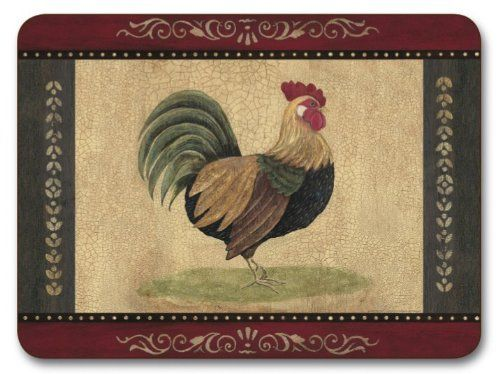 "SET OF 6 GREEN RED ROOSTER CORK BACKED PLACEMATS 11 x 8.5 by PCJ SUPPLIES. $40.00. A SET OF 6 MIXED LUXURY GREEN RED ROOSTER PLACEMATS(11"" x 8.5"")   SEE SECOND PICTURE FOR OTHER DESIGNS IN PACK    MADE IN NEW ZEALAND   LAMINATED WOOD- WIPE CLEAN SURFACE   CORK BACKING   PROTECTS FURNITURE AGAINST SCRATCHING   HEAT RESISTANT TO 110oC / 1225oF  AVAILABLE IN MORE DESIGNS   MATCHING COASTERS ALSO AVAILABLE IN OUR AMAZON SHOP"