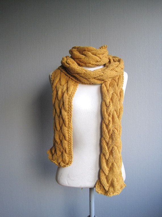 Knit Scarf Braided Scarf Long Scarf Cable Knit by woolpleasure