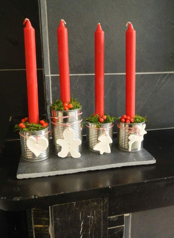 Ma version 2015 de la couronne de l'avent. Ok, elle n'a pas grand chose d'une couronne si ce n'est les 4 bougies à allumer les 4 dimanches avant Noël... La 1ère c'est pour bientôt: dimanche 29 novembre Les petits personnages ont été réalisés en pâte à...