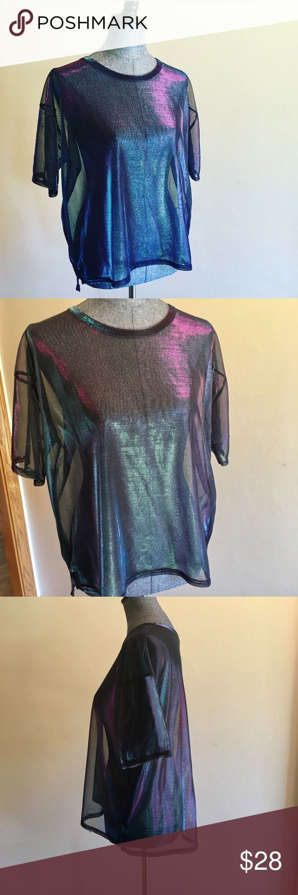 🌚Mesh Metallic Tee Awesome and trendy metallic mesh short sleeve tee purchased at Urban Outfitters in manhattan. took the tags off but never wore it, perfect condition. Silence + Noise brand. Urban Outfitters Tops