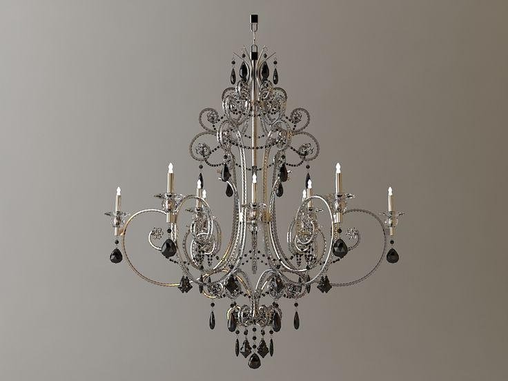 Detailed Chandelier 3D Model- Qualitative 3d model of the detailed chandelier.  High quality model to add more details and realism to your interior rendering projects.  Detailed enough for close-up renders.  Originally modelled in 3ds max 2009. Final images rendered with vray 1.50 Sp2. - #3D_model #Lamp