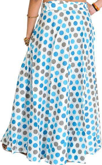 Sukně | Sukně ZAVINOVACÍ | Zavinovací sukně (97 cm) s puntíky - modrá | Syluska.cz- orient móda