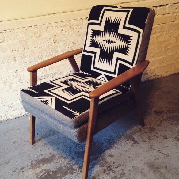Pendleton Mid Century Danish Lounge Chair — vintage frame with a modern-looking print!