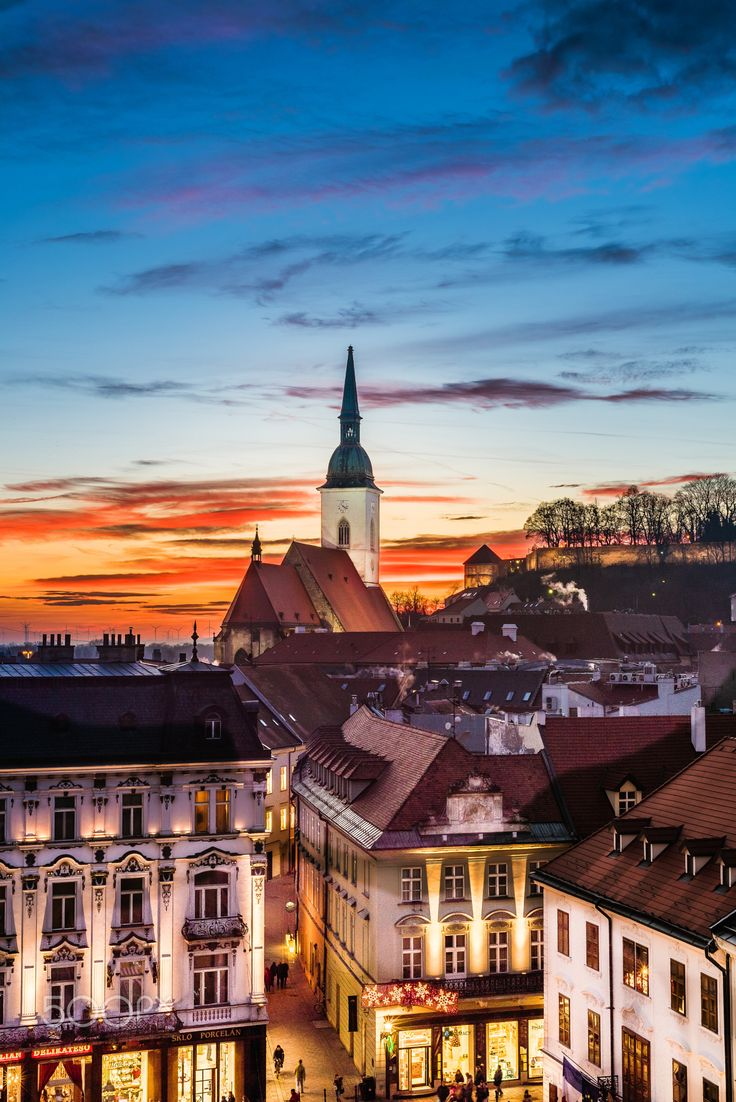 Sunset cathedral - View to colorful sunset and St. Martin's cathedral in Bratislava, Slovakia.