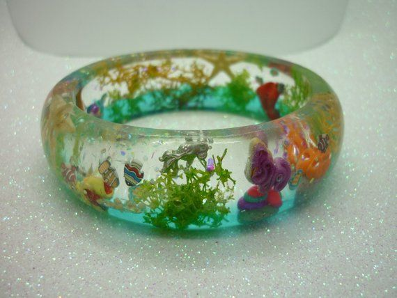 coral reef bangle blue and green fish ocean bangle coral and treasure yellow handmade resin bangle gift for her pink