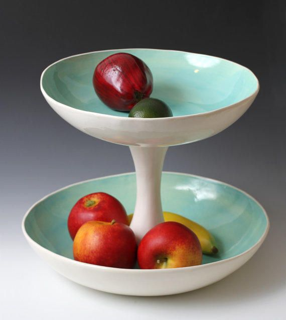 Large Turquoise and White 2 Tiered Fruit, Serving / Display Bowl Sculpture - Pottery / Ceramic Wedding gift - made to from VitreousWares on Etsy.