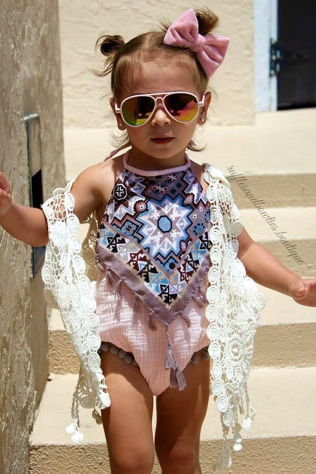 This Alexis Tribal romper is perfect for all those fun family music festivals usually found at your local zoo or park. Let your little fashionista channel her own Coachella style. She will surely dres