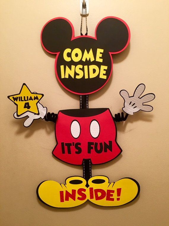 Mickey Mouse Door Sign Birthday WITH NAME STAR Wiggle Arm Come