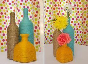 Свадебный hand-made: оригинальная ваза из бутылки.
