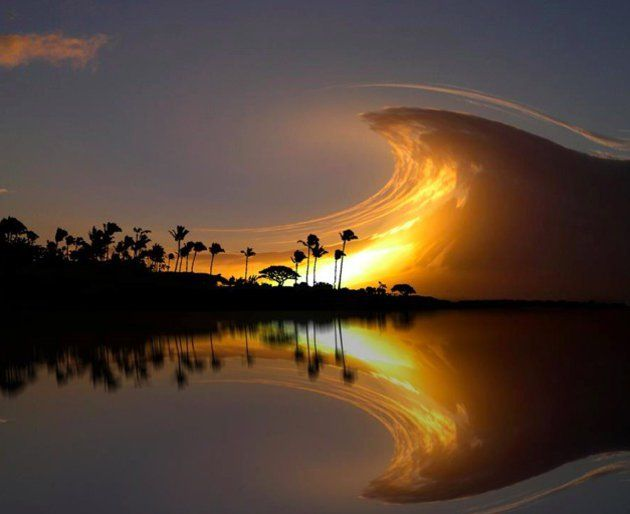 Sky wave in Costa Rica – Beautiful picture of an evening sky with a wave of clou