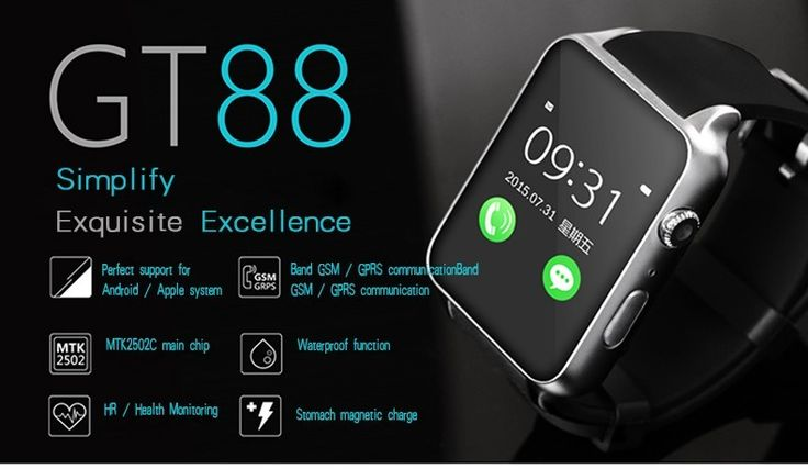 Surmos Smart Wearable Watch GT88 GSM850/900/1800/1900 SMS MP3/MP4/AVINFCBluetooth Music Playing Support SIM Card and TF Card