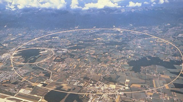 Aerial photograph of CERN in Switzerland. A circle with a diameter of 8.5 km is superimposed to show the location of the Large Hardron Collider
