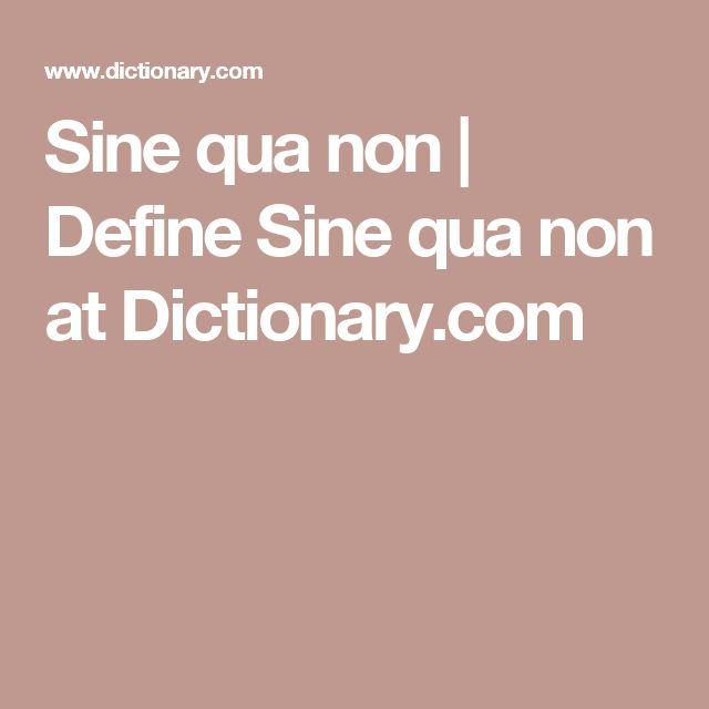 Sine qua non | Define Sine qua non at Dictionary.com