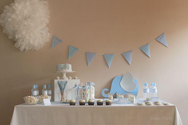 Nice Party primer cumpleaños fiesta elefante azul
