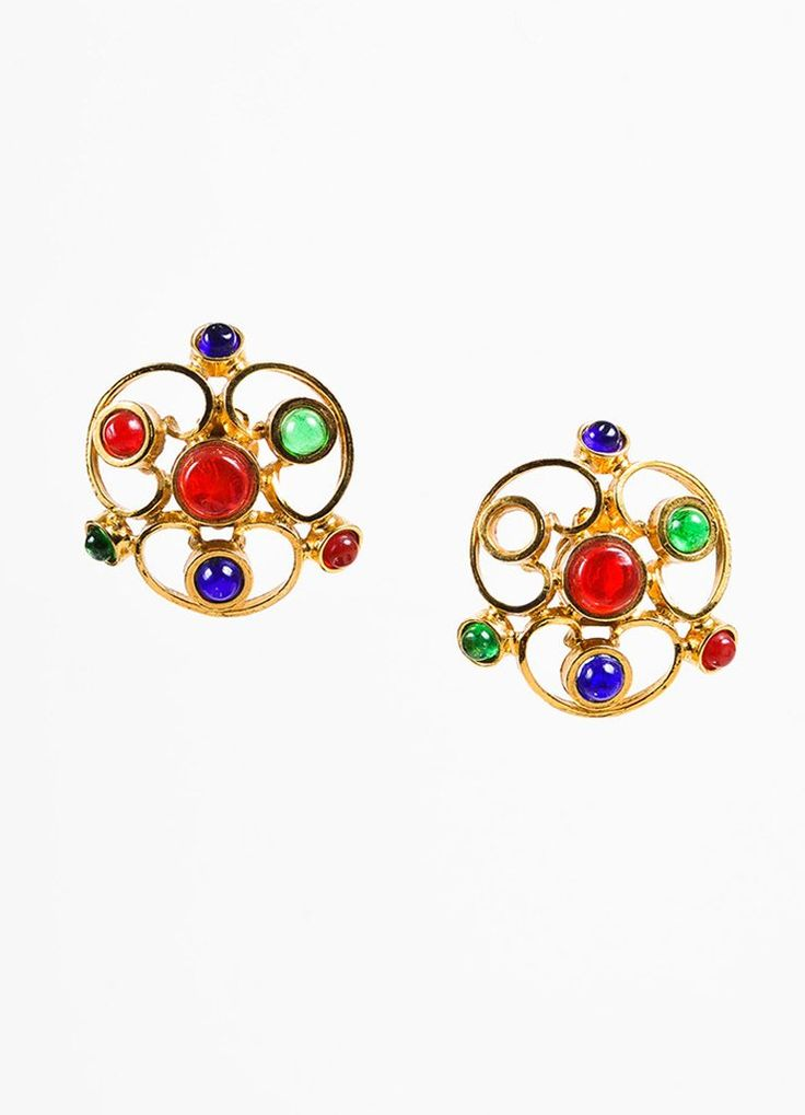 Chanel Blue, Red, and Gold Toned Gripoix Glass Stone Clip On Earrings