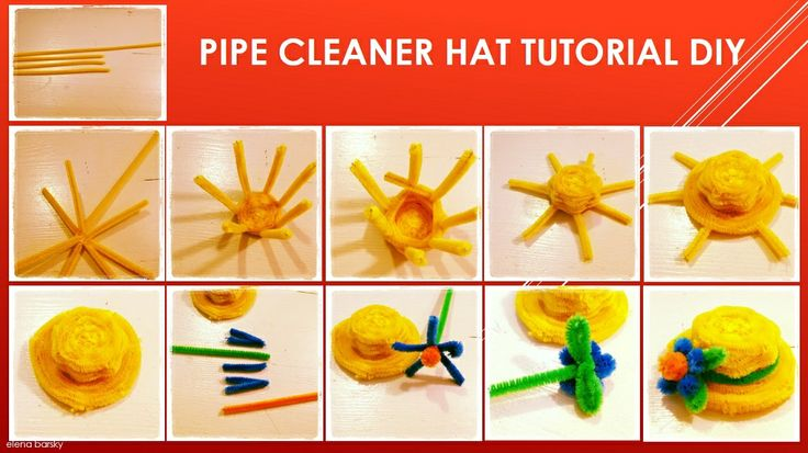 Pipe cleaner HAT DIY tutorial http://www.pipecleanercrafts.co.uk/ Pipe Cleaner Crafts. Start with 3 halfs, and 1 whole pipe cleaner.