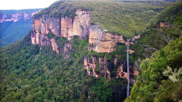 Blue Mountains with waterfall NSW Australia - null