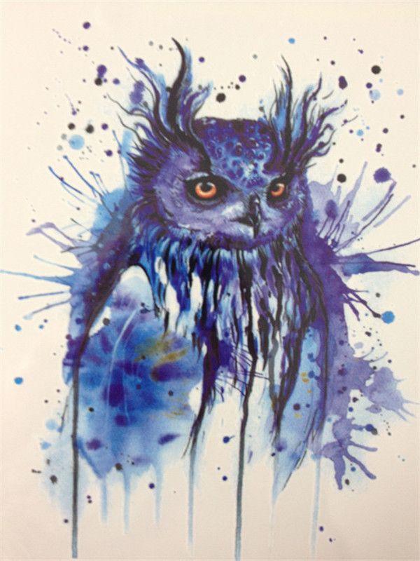 2016 HOT SALE 21 X 15 CM Blue OWL Sexy Cool Beauty Tattoo Waterproof Hot Temporary Tattoo Stickers