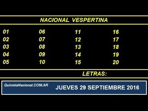 Video Quiniela Nacional Vespertina Jueves 29 de Septiembre de 2016 Pizarra del sorteo desde el recinto de Loteria Nacional de las 17:30
